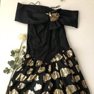 Black and Gold Vintage 80s Dress